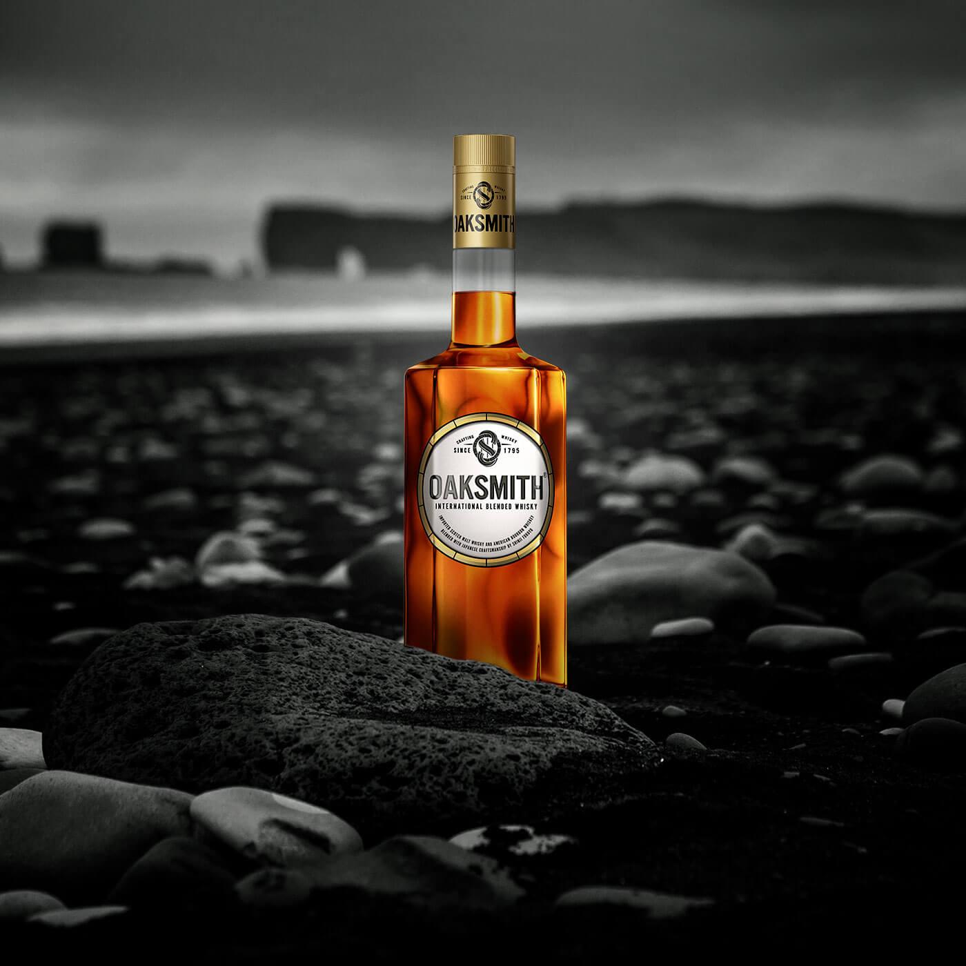 oaksmith international bottle on seashore